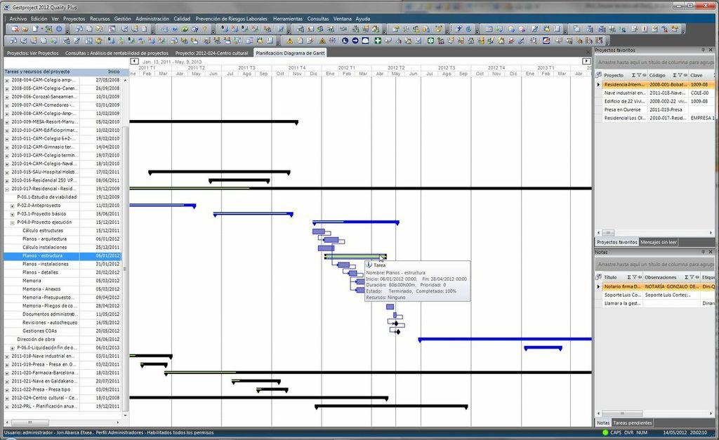 Captura de Gestproject - estándar de gestión de las oficinas técnicas. Software para organización, gestión, control y calidad.